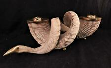Pair Vintage Real Ram's Horns Candle Holders~Sticks~Brass Inserts & Ball Feet