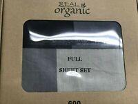 100% Organic Cotton 4pcs  Bed Sheet Set 600 TC,Gray Taupe Full