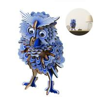 3D Wooden Owl DIY Puzzle Jigsaw Woodcraft Kids Educational Crafts Kit Toy Model