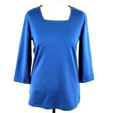 FAIR LADY Women Square Neck 3/4 Sleeve Top 14 Blue Vintage Nylon Casual Autumn