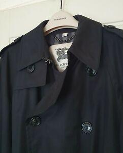 BURBERRY RRP £1078 DOUBLE BREASTED BLACK TRENCH BELT 50 M COAT NOVA CHECK MAC