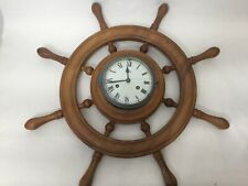 "Schatz Germany Nautical Ships Wheel Wall Clock with Key, 24"" Widest, 4"" Deep"