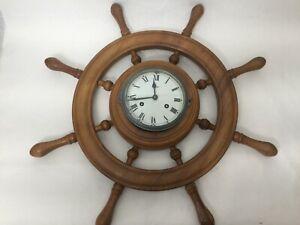 "Schatz Germany Nautical Ships Wheel Wall Clock with Key, 24"" Widest, 4"" Deep"