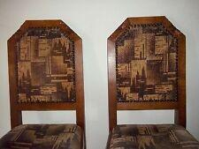 2 Vecchio Stühle-eiche Massiv-Holzschnitzerei-Samt-Stuhl circa 1930