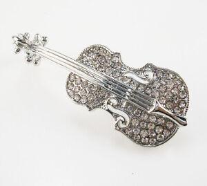 "Joan Rivers Pave Violin Brooch   2""  silver"