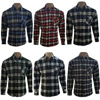 Mens Flannel Lumberjack Warm Work Cotton Brushed Shirt Check Long Sleeve Shirts