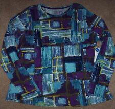 NWT Westbound Woman ARTSY Purple/Blue/Green GEOMETRIC Jersey Knit Top Shirt 1X
