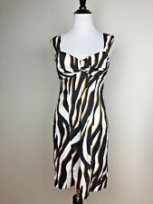 Candie's Cocktail Dress Junior Size 5 White Black Brown Zebra Body Con Stretch