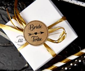 12 Kraft Brown Round Stickers Bride Tribe Labels Bridal Bachelorette Hens 5cm
