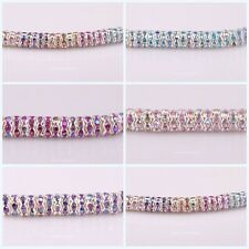 8mm AB Color Crystal Rhinestone Rondelle Silver Plated Spacer Beads 100PCS