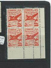BOLIVIA (P0606B) A/M  SCC130  BL OF 4 RT STAMPS EXTRA ROW OF PERFORATIONS MNH
