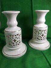 Lenox Bone China 2 Porcelain Candle Holders Vintage Ivory with 22K Gold Trim