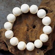 Rare 16 MM Genuine Horned Helmet Shell Bracelet Cassis Cornuta 14 Beads #KM3