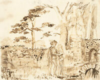 Charles William Cole - 19th Century Pen and Ink drawing, Figures in a Landscape