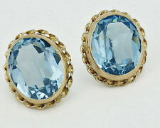 Estate 14K Yellow Gold Oval Blue Topaz Stud Earrings 7mm x 9mm Stones
