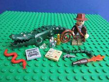 genuine LEGO INDIANA JONES minifigure snake map whip ALLIGATOR set i49