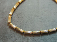 """Vintage Matte Textured Gold tone Bamboo Link Bead 15"""" Choker Necklace 12c 105"""