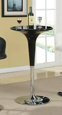 Modern Adjustable Glossy Black Bar Table with Chrome Base by Coaster 120325