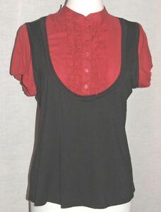 MARINA KANEVA NEW 2 in 1 RED & BLACK LONG DOUBLE RUFFLE TOP Size UK 12