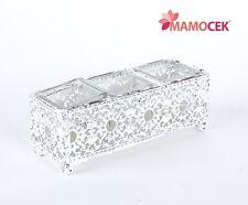 PORTACANDELA in metallo bianco 3 vasetti cm.22x8 decorazione casa tavola Shabby