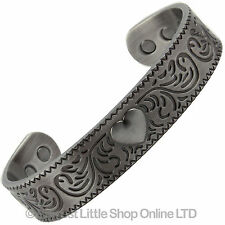 COPPER PEWTER MAGNETIC Bracelet GOTHIC HEART 6 Magnets Health Rare Earth NdFeB