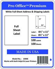 """Pro Office 100 Full Sheets Shipping Labels 8.5"""" x 11"""" Self Adhesive Blank 5165"""