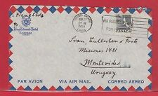15c to Uruguay 1954 single usage King Edward Hotel air mail cover Canada