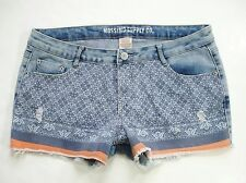 New! MOSSIMO Printed Stretch Denim Jean Shorts Low Rise Cut-Off Distressed Fit 6