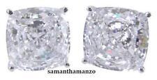 4ct Fancy Cushion Brilliant Cut Signity CZ Cubic Zirconia Stud Jewelry Earrings