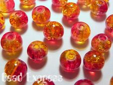 100pc 6mm Quality Crackle Glass Round Beads - Pink Red & Yellow