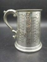 Vintage Engraved English Pewter Tankard Stein Mug England Kings & Queens
