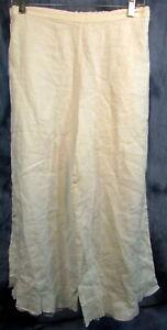WOMEN'S BRYN WALKER MEDIUM WHITE ELASTIC WAIST 100% LINEN CAPRI'S PANTS