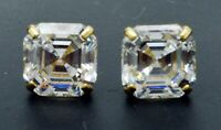 14K Solid Yellow Gold Screw Back Asscher Created Diamond Stud Earrings 8mm-5mm