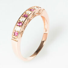 18ct Rose Gold Sterling Silver Half Eternity Ring Red Ruby CZ Size J