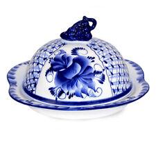 "Original Russian Porcelain Gzhel. Butter-dish ""Blue Rhapsody"" Handpainted"