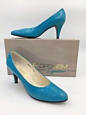 Vtg Florsheim Heels size 7Aa w/ Box Signature Womens Turquoise Blue Pumps O1
