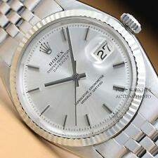 ROLEX MENS SILVER DIAL DATEJUST OYSTER PERPETUAL 18K WHITE GOLD AND STEEL WATCH
