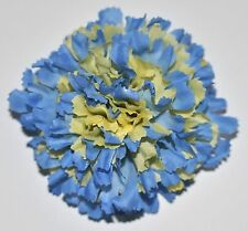 "3"" Blue & Yellow Carnation Silk Flower Hair Clip Wedding Handmade"