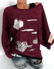 PULLOVER Sweater + LONGTOP ITALY OVERSIZE HERZ Fledermaus Beerenrot 40 42 44