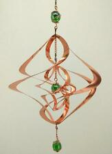 Wind Spinner - Copper Sculpture Spiral with Green Orbs - Outdoor/Indoor