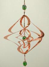 Wind Spinner - Copper Sculpture Spiral with Green Orbs - Outdoor/Indoor