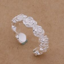 925 Silver Adjustable Womens Toe/Thumb Ring. Small Flowers Design