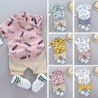 1-4Years Infant Baby Boy Clothes Set Cartoon T-shirt Tops+Shorts Summer Outfit K