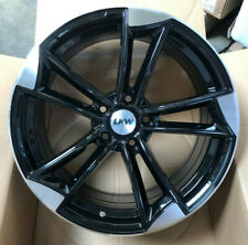 "18"" ROTOR STYLE BLACK POLISHED ALLOY WHEELS FITS AUDI VW CADDY GOLF TOURAN"