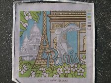 """""""Paris"""" Vintage from 1979 painted needlepoint canvas 14 by 14 square finished"""