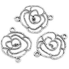 LOT de 10 CONNECTEURS FLEUR ROSE ARGENTE perles breloques 25x20mm bracelet