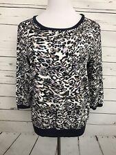 JLO Jennifer Lopez Medium Womens Top Animal Print Blouse 3/4 Sleeves Shirt