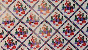 VTG Hallmark Christmas Gift Wrap Paper Black Santa Children Purple Red Green