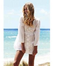 Melissa Odabash White Embroidered Kaftan Dress M  Coverup