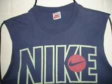 Vintage 80s Nike Spell out Swoosh Basketball T Shirt Cut off Sleeves Usa Made S